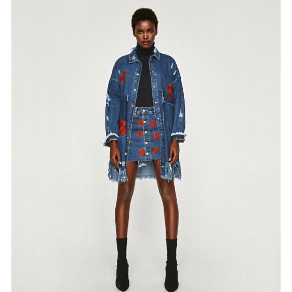 c769a36d Zara Jackets & Coats | New Floral Embroidered Jean Jacket | Poshmark